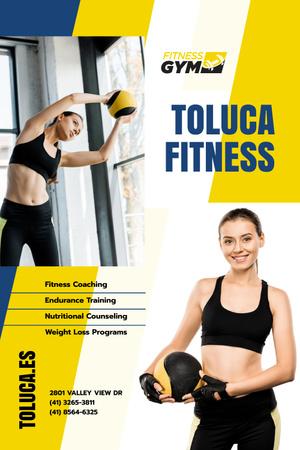 Plantilla de diseño de Gym Promotion with Woman with Gym Equipment Pinterest