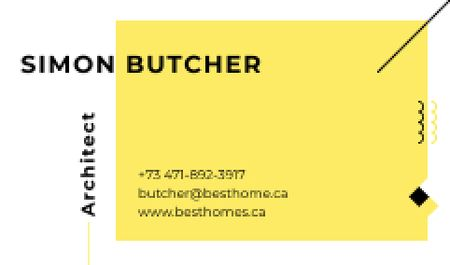 Architect Business Contacts in Yellow Business card Tasarım Şablonu