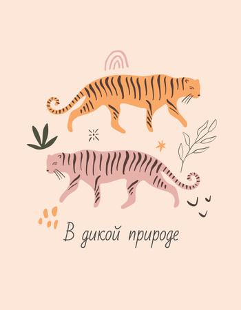 Wild Tigers walking in Jungle T-Shirtデザインテンプレート