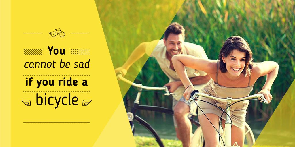 Template di design Happy young couple riding bicycles near corn field Twitter