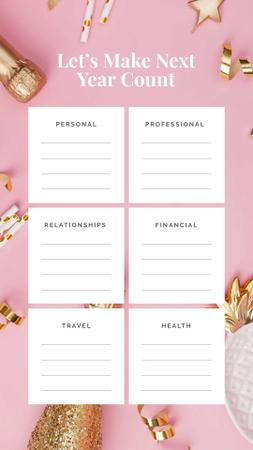 Modèle de visuel Personal and professional Goals list for year - Instagram Story