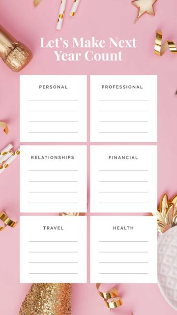 Plantilla de diseño de Personal and professional Goals list for year Instagram Story