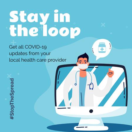 Plantilla de diseño de #StopTheSpread Coronavirus awareness with Doctor's advice Instagram