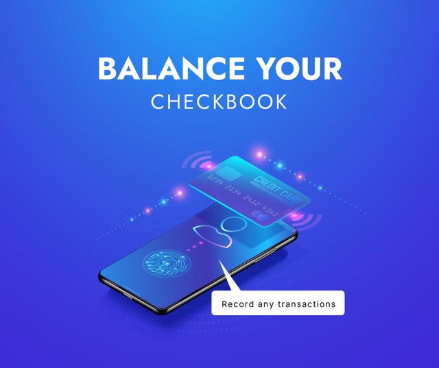 Designvorlage Checkbook application on Phone screen für Facebook