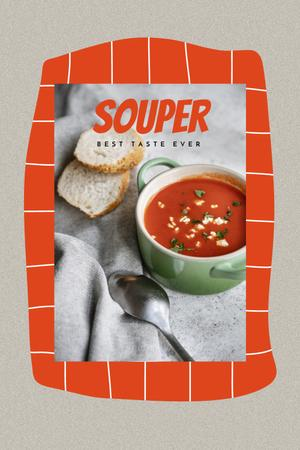 Delicious Red Soup with Bread Pinterest – шаблон для дизайна