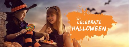 Plantilla de diseño de Halloween Celebration with Kids in Costumes Facebook cover