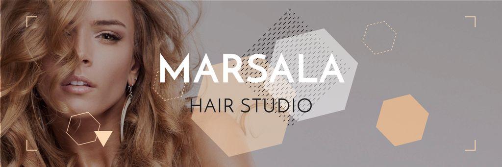 Hair Studio Ad Woman with Blonde Hair — Crea un design