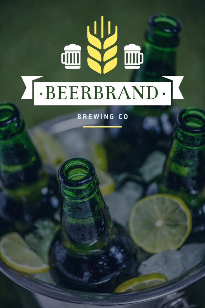 Brewing Company Ad with Beer Bottles in Ice — ein Design erstellen