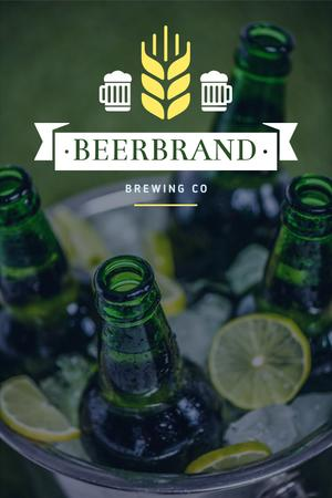 Ontwerpsjabloon van Pinterest van Brewing Company Ad with Beer Bottles in Ice