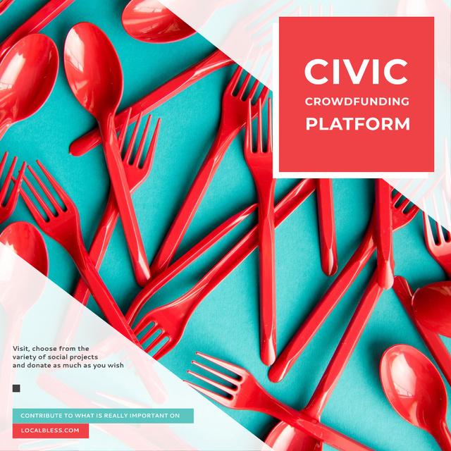 Crowdfunding Platform Red Plastic Tableware Instagramデザインテンプレート