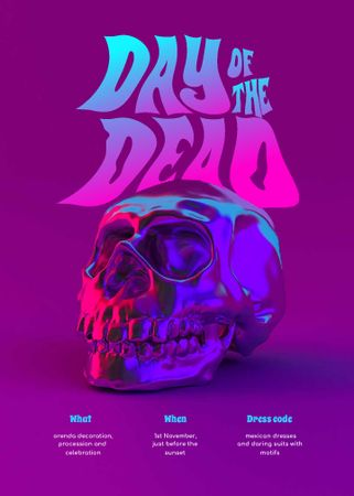 Day of the Dead Announcement with Skull Invitation – шаблон для дизайна