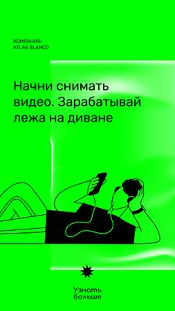 Video Blog Platform promotion with Man in Headphones Instagram Video Story – шаблон для дизайна