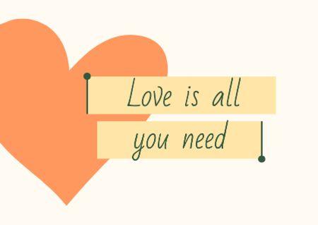 Plantilla de diseño de Love inspiration with Heart icon Postcard