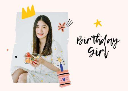 Plantilla de diseño de birthday girl Card