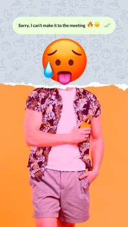 Funny Illustration of Hot Face Emoji with Male Body Instagram Story Modelo de Design