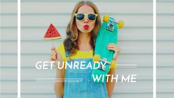 Summer Fashion Ad Girl Holding Skateboard and Watermelon