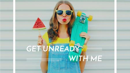 Summer Fashion Ad Girl Holding Skateboard and Watermelon Youtube Thumbnail – шаблон для дизайна