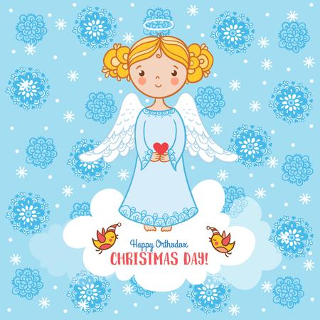 Template di design Happy Christmas with Cute Angel Girl Instagram
