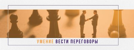 Business people shaking hands on chess board Facebook cover – шаблон для дизайна