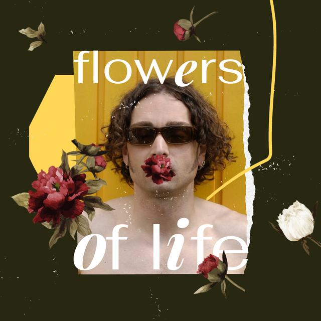 Handsome Young Man with Flower in Mouth Instagram Design Template