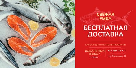 Food Delivery Services with Fresh Raw Fish Twitter – шаблон для дизайна