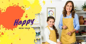 New Year Greeting with Woman and Child in Studio