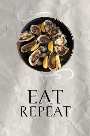 Delicious Oysters on Plate Pinterest – шаблон для дизайна