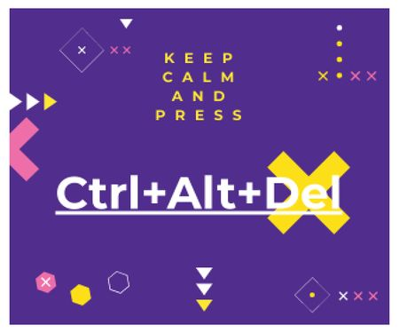 keep calm and press Ctrl+Alt+Delete purple poster Large Rectangle – шаблон для дизайну