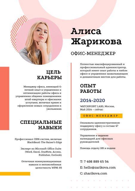 Financial Manager professional profile Resume – шаблон для дизайна