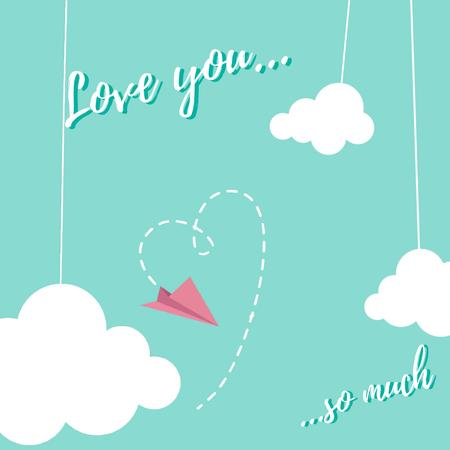 Paper plane drawing Heart on Valentine's Day Animated Postデザインテンプレート