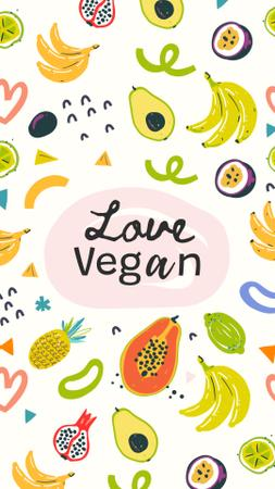 Vegan Lifestyle Concept with Fresh Fruits illustration Instagram Story – шаблон для дизайну
