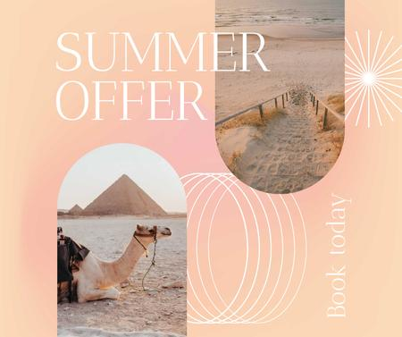 Summer Travel Offer with Camel on Beach Facebook Design Template