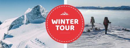 Modèle de visuel Winter Tour offer Hikers in Snowy Mountains - Facebook cover
