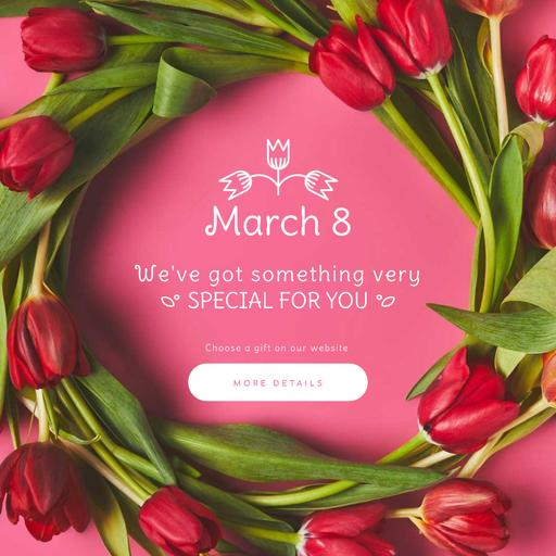 Rotating Wreath Of Tulips On March 8 WomanDay
