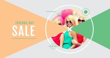 Plantilla de diseño de Best Friends Day Sale with Attractive Girls Facebook AD