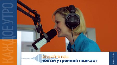 Radio Podcast Announcement Smiling Presenter Full HD video – шаблон для дизайна