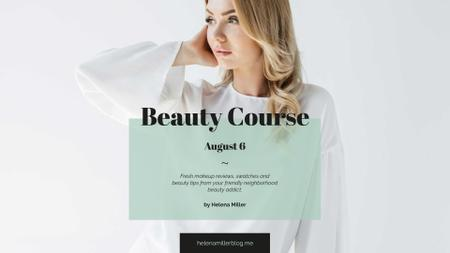 Ontwerpsjabloon van FB event cover van Beauty Course Ad with Attractive Woman in White