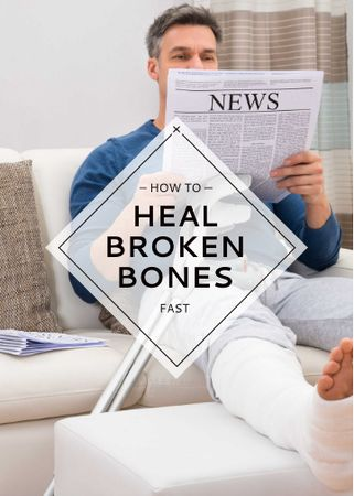 Template di design Man with Broken Leg reading Newspaper Invitation