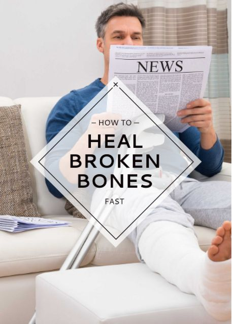 Ontwerpsjabloon van Invitation van Man with Broken Leg reading Newspaper