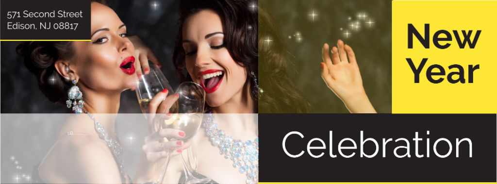 New Year Party Invitation with People Celebrating — Crear un diseño