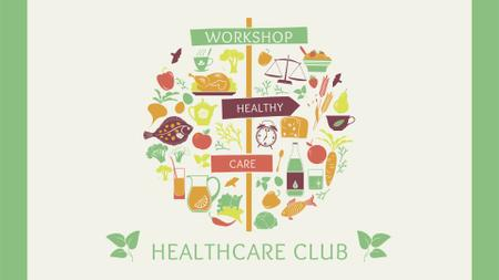 Healthy Lifestyle Attributes Icons FB event cover – шаблон для дизайна