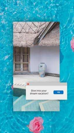 Travel Inspiration with Flowers in Pool Water Instagram Story Modelo de Design