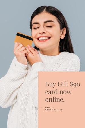 Ontwerpsjabloon van Pinterest van Gift Card Offer with Smiling Woman