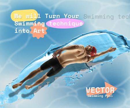 Funny Illustration of Man swimming on Paint Smudge Facebook Design Template
