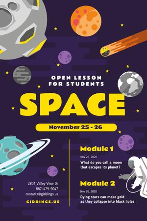 Space Lesson Announcement with Astronaut among Planets Pinterest Modelo de Design