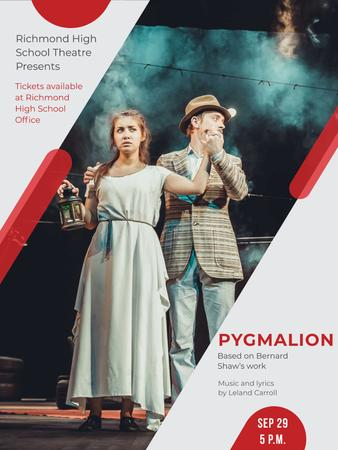 Designvorlage Theater Invitation Actors in Pygmalion Performance für Poster US