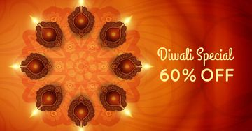 Diwali Offer with Glowing Lamps