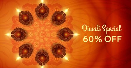 Diwali Offer with Glowing Lamps Facebook AD – шаблон для дизайну