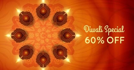 Diwali Offer with Glowing Lamps Facebook AD Design Template