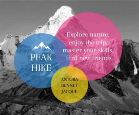 Plantilla de diseño de Hike Trip Announcement Scenic Mountains Peaks Large Rectangle